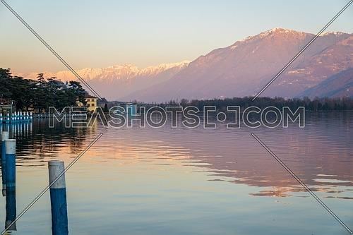 Panorama of Iseo lake from the city of Lovere,Bergamo,Lombardy Italy.