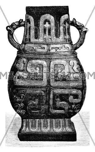 Chinese Vase honorary, vintage engraved illustration. Magasin Pittoresque 1873.