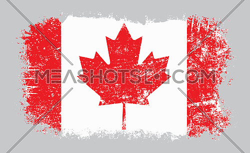 Vector illustration of grunge old distressed Canadian flag isolated on grey background