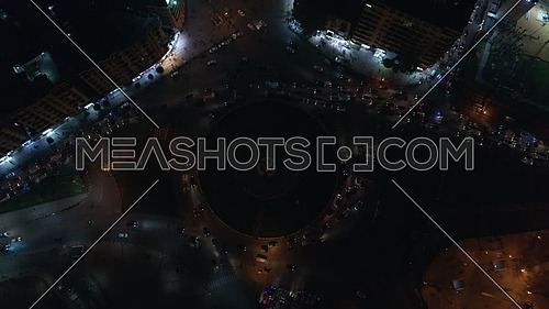 Fly over tahrir square till bird eye view in Cairo at night - December 2018.
