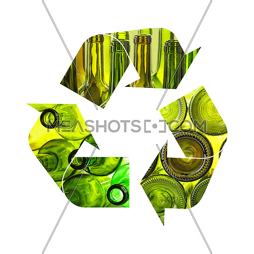Illustration of recycling symbol of green glass bottles isolated on white background