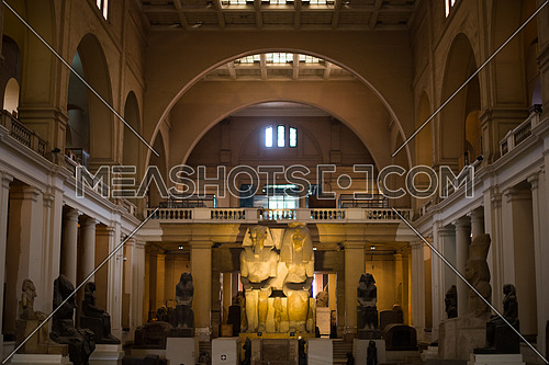 Interior for the Egyptian Museum in Cairo Entrance with 2 great statues of the King and the Queen