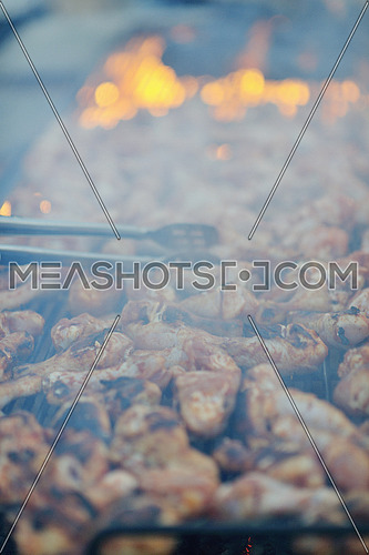 Barbecue with chicken  on grill, fire and smoke in background