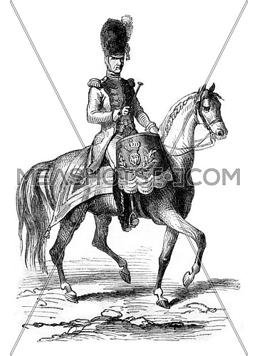 Timpanist gendarmes of the Imperial Guard in 1804, vintage engraved illustration. Magasin Pittoresque 1869.
