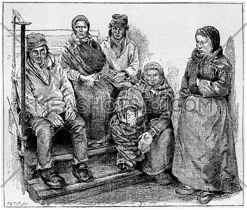 Laplanders or Sami People, vintage engraved illustration. Dictionary of Words and Things - Larive and Fleury - 1895