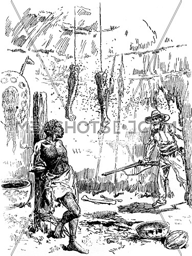 Narcissus Nicaise perilous adventures in the Congo. The negro sees it as a supernatural apparition, vintage engraved illustration. Journal des Voyage, Travel Journal, (1880-81).
