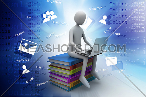 3d man sitting on books and working at his laptop