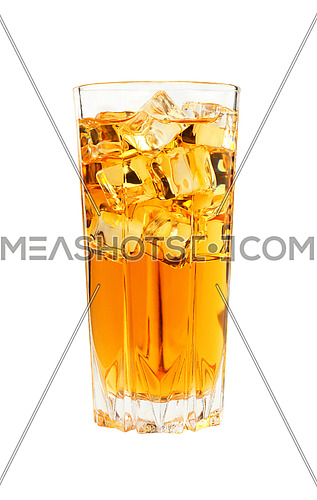 Close up one full high glass of cold iced black tea with transparent ice cubes, isolated on white background, low angle side view
