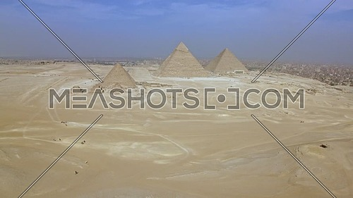 Fly over Shot Drone for The Great Pyramids of Giza in giza at day