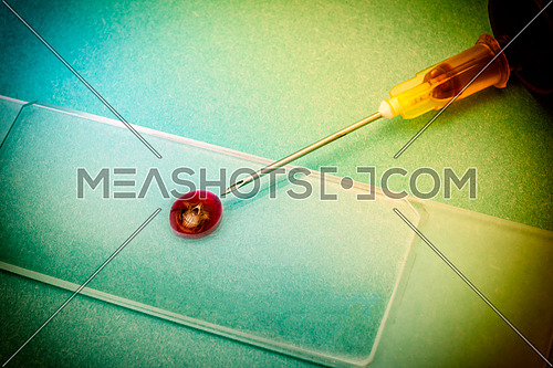 Drop of blood with face death, medical concept
