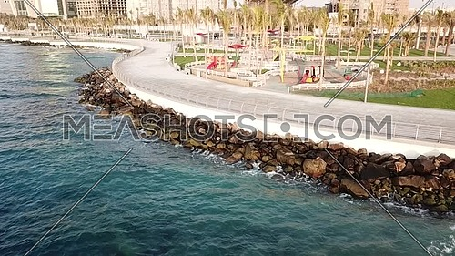 Jeddah water front view and playground during the morning