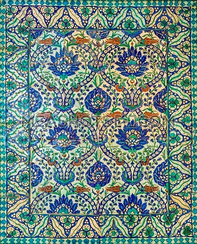 Wall decorated with traditional Ottoman era style glazed ceramic tiles from Iznik - Turkey - with floral ornamentations, Cairo, Egypt