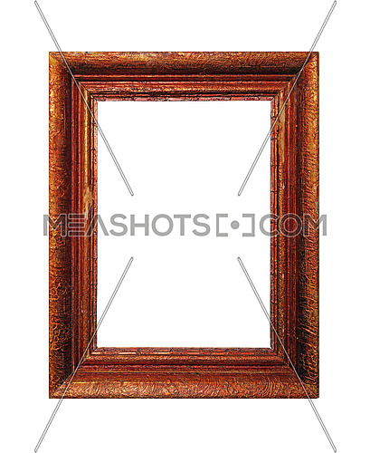 Vintage old antique red, brown and golden painted vertical rectangular massive picture frame with cracked paint isolated on white, close up