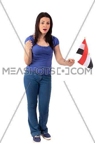 An Egyptian female supporting the Egyptian soccer team wearing blue blouse