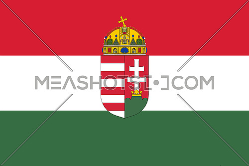Hungarian National Flag With Coat Of Arms 3D illustration
