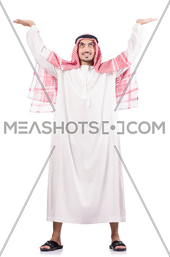 Arab businessman pushing isolated on the white