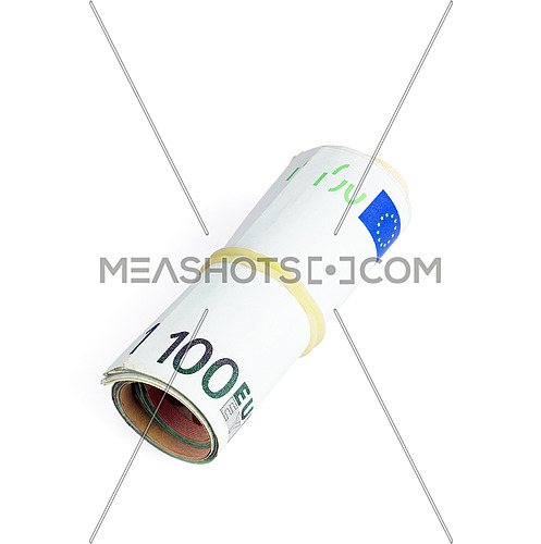 euro bills in a roll isolated on white background