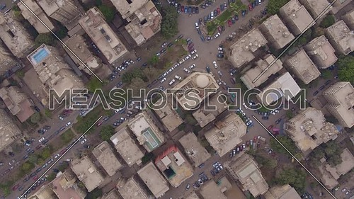 Fly Over top shot for Al Mohandseen area revealing 22th of March 2018 in Giza  at day