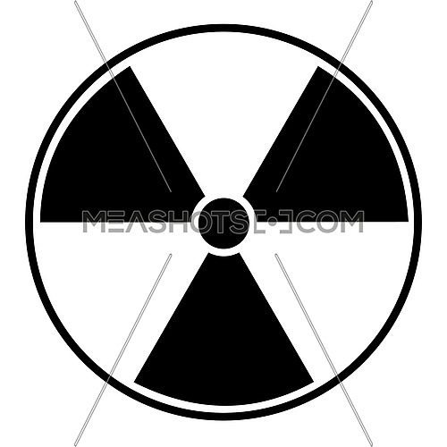 Vector illustration of black radioactive hazard warning sign on white background