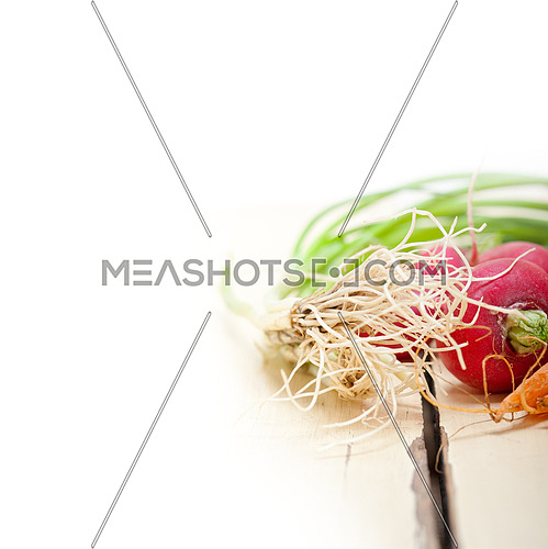 raw root vegetable on a rustic white wood table
