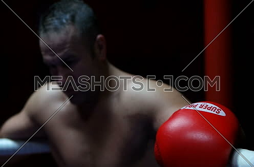 Portrait Of A  Male Boxer preparing for fight in ring