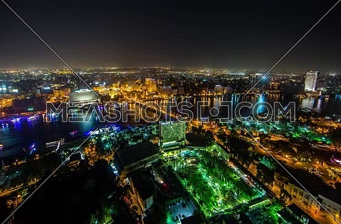 Wide timelapse overview of Cairo from Cairo Tower at night