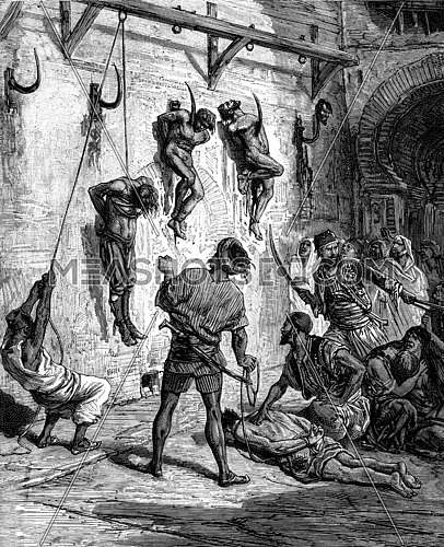 Tunisia. Some were thrown naked on iron hooks attached to walls, vintage engraved illustration. Journal des Voyage, Travel Journal, (1880-81).