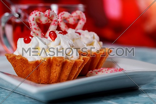 Happy Valentine day delicious cupcake with heart