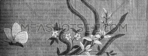 French Silk, second half of the eighteenth century (1774-1793), vintage engraved illustration. Industrial encyclopedia E.-O. Lami - 1875.