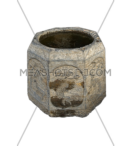 ancient stone bucket finely carved with iced water over white backgroungd