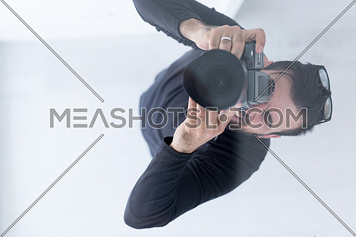 top view of Photographer taking picture in luxury villa