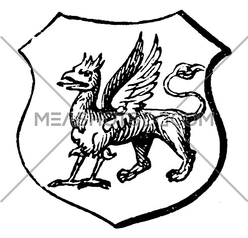 Griffin have A chimerical animal, vintage line drawing or engraving illustration.