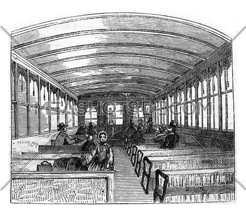 American railway carriage interior, vintage engraved illustration.