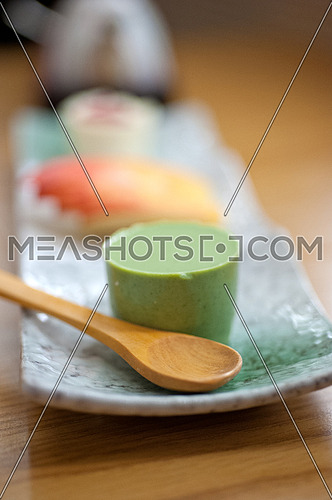 Japanese style green tea pudding mousse dessert cake