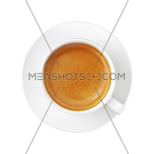 Close up one full white cup of espresso coffee on saucer isolated on white background, elevated top view, directly above