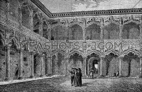 Patio of the palace of the Dukes of Infantado, Guadalajara, vintage engraved illustration. Le Tour du Monde, Travel Journal, (1872).