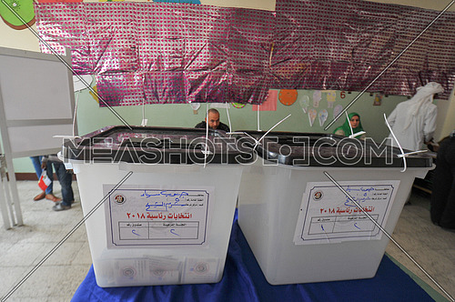 ballot boxes waiting for voters in the Egyptian presidential elections 2018 in the city of peace in Sharm El Sheikh in South Sinai on the first day of the elections March 26, 2018, which lasts for 3 days
