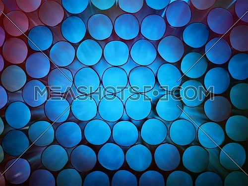 Abstract cold blue toned vivid colorful background texture of backlit stack drinking straw circles