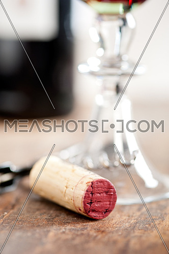 red wine corking and tasting closeup macro