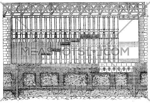 Elevation Amount of a navigable channel of the Poses dam, vintage engraved illustration. Industrial encyclopedia E.-O. Lami - 1875.