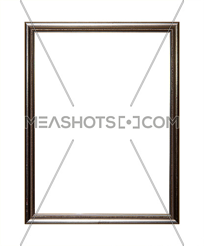 Vintage old wooden classic silver gray painted vertical rectangular frame for picture, photo or mirror, isolated on white background, close up