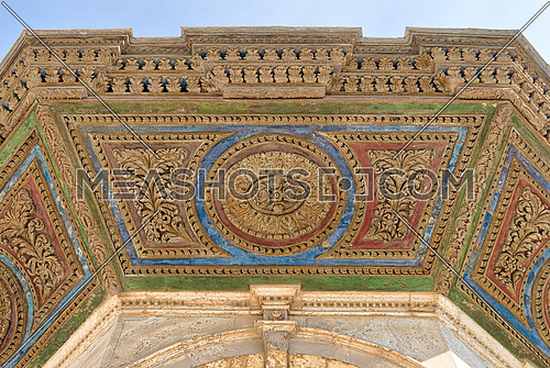Colorful decorative panel of the ceiling of ablution fountain in front of the Great Mosque of Muhammad Ali Pasha (Alabaster Mosque), Citadel of Cairo, Egypt