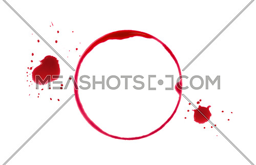 Wet stains of red wine glass or bottle, circle ring and blob drops isolated on white background