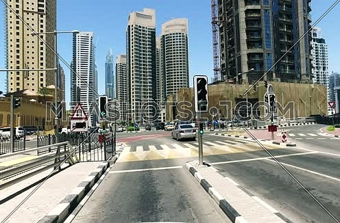 Tracking shot with zip pan for JBR Street in Dubai City