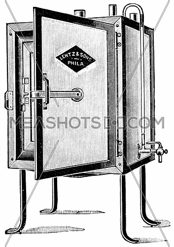 Small incubator sufficiently large for individual work, vintage engraved illustration.