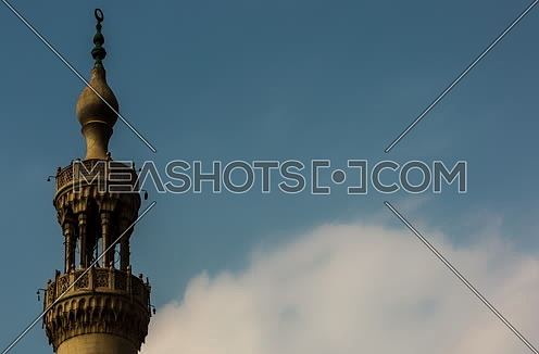 Zoom OUT Shot for mousqe minaret at Daytime