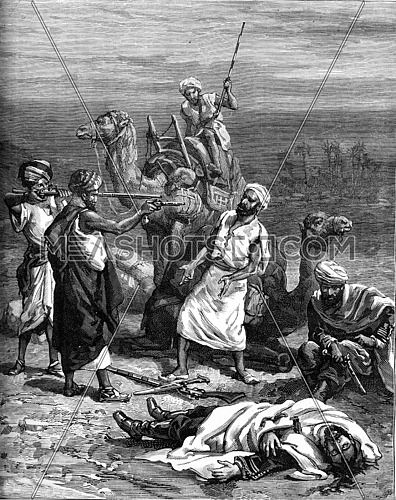 The killing of Mr. Charles Huder. Move and we will kill you too. From Travel Diaries, vintage engraving, 1884-85.