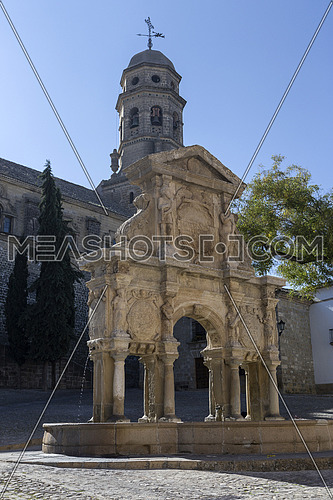Fountain and St. Philip Neri Seminary in the Plaza Santa Maria, Baeza, Jaen Province, Andalusia, Spain