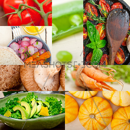 fresh hearthy healthy vegetables selection food collage composition