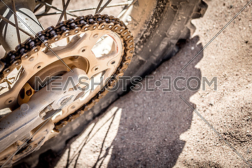 close up shot of a Dirt Bike tyre on the Track